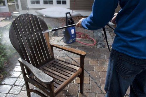 pressure washing a deck chair