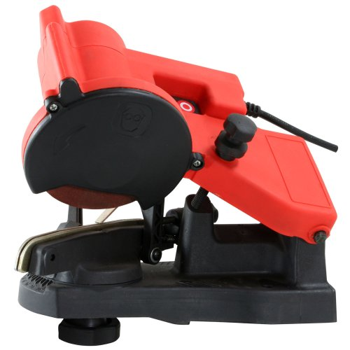 An electric chainsaw sharpener