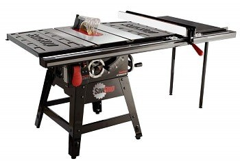 SawStop CNS175-TGP36 contractor table saw with blade brake emergency safety stop system